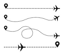 Plane And Track Icon On A White Background. Vector Illustration
