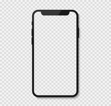 Black Smart Phone Isolated On Transparent Background, Smartphone Blank Screen, Phone Mockup, Vector Illustration.