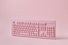 Vertically Standing Papercraft Pink Keyboard.