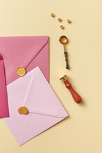 Pink Envelopes For Letters And Wax Beads