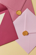 Closeup Of Pink Envelopes For Love Letters With Wax Seals