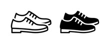 Leather Derby Shoe Or Man Footwear Icon Vector Illustration.