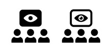 Surveillance, Supervision Icon. Containing Eye Sight Looking At People Symbol.