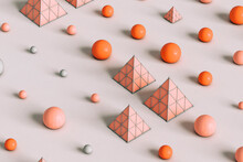 Pattern Of Pink Pyramids And Spheres