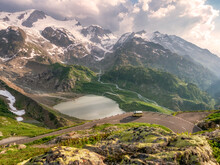 Camper Van On Scenic Alpine Road