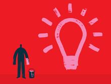 Creative Thinker Paints Lightbulb