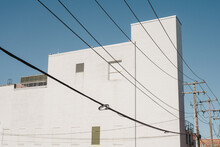 Pure White Architecture With Power Lines