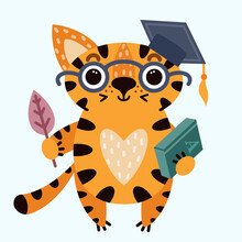 Cute Cartoon Striped Tiger. A Cat In A Graduate Cap And Glasses. The Animal Is Holding A Book And An Autumn Leaf. Vector Isolated Icon On White. The Kitten Goes To School. Flat Style. Baby Print.