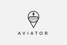 Aviator Logo Design. Aviation Training Center. Club. Game . Application. Sport.pilot Helmet Icon For Aviator Logo Design Template Illustration