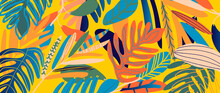 Tropical Leaves Background Vector. It Includes Leaf Shapes, Pencils And Paint Brush Texture. Pop Art Botanical Design For Fabrics, Wallpaper, Cards, Rugs, Ceramics, Homewares, Gadget Skins And More.