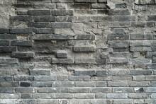 Damaged Old Brick Wall Background