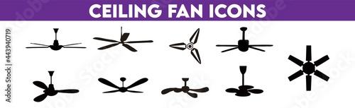 Canvas Ceiling Fans. Ceiling Fans Icons Set.