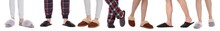 Collage With Photos Of People Wearing Stylish Slippers On White Background, Closeup. Banner Design