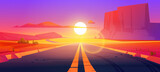 Road in desert sunset scenery landscape with rocks and dry ground. Straight empty highway in Arizona Grand Canyon, asphalted way disappear into the distance with dusk sun. Cartoon vector illustration