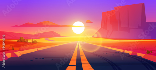 Foto Road in desert sunset scenery landscape with rocks and dry ground