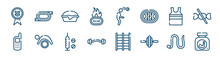 Active Lifestyle Icons Set Such As Race Track, Calories, Tanktop, Variometer, Doping, Earthworm Outline Vector Signs. Symbol, Logo Illustration. Linear Style Icons Set. Pixel Perfect Vector
