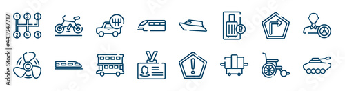 Cuadros en Lienzo transport icons set such as road bike, monorail, right, ship propeller, double decker bus, wheel chair outline vector signs
