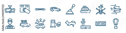Fotografie, Obraz transport icons set such as access control, station wagon, helicopter black shape top view, ticket collector, carsharing, license plate outline vector signs