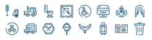 Public Services Fill Icons Set Such As Jeepney, No Turn, Water Bomb City Supplier, Biohazard Risk Triangular, Bifurcation, Parking Card Outline Vector Signs. Symbol, Logo Illustration. Linear Style