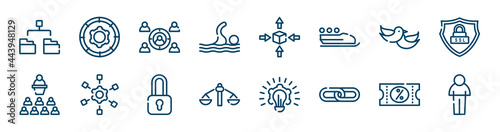 Foto business pack icons set such as function, swim, love bird, seminar, locked padlock, discount voucher outline vector signs