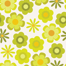 Groovy Psychedelic Chartreuse Floral Seamless Vector Pattern. Retro Bold Design With Yellow And Lime Green Flowers. 1970's And 60's Style Summer And Spring Print. Repeat Background Wallpaper Texture.