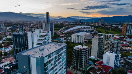 Canvastavla Beautiful aerial view of the City of San Jose Costa Rica, near the Sabana park a
