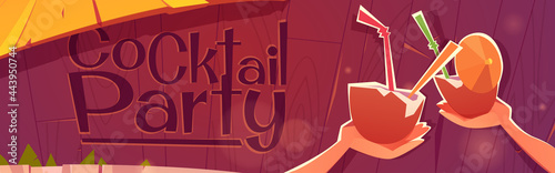 Obraz na plátně Cocktail party banner with beach bar and coconuts with straws and umbrella