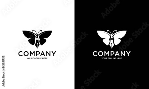 Tela Butterfly pen concept pen with butterfly wings and antenna vector logo icon illu