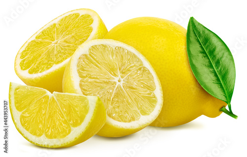 Fotografiet Lemons and leaves, isolated on white background