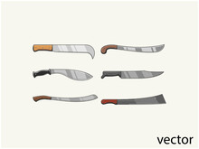 Knife Blades And Cleavers, Combat And Agriculture Cutters Premium Vector