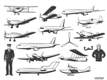 Modern And Vintage Airplanes, Civil And Military Pilot Characters Premium Vector.