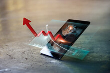 Business Growth, Increasing Red Arrow Graph On Business Data Report With Growth Profit On Virtual Interface In Mobile Smartphone. Successful Digital Marketing Technology And Global Business Progress.