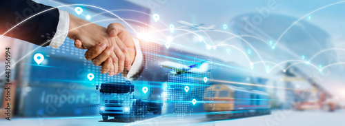 Canvas Print Transportation and logistics concept, Import and export business, Businessman handshake of global network  connection and logistics partnership, Distribution, Shipping, Online goods orders