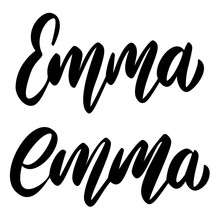 Emma. Lettering Phrase On White Background. Design Element For Greeting Card, T Shirt, Poster. Vector Illustration