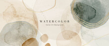 Watercolor Art Background Vector. Wallpaper Design With Paint Brush And Gold Line Art. Earth Tone Blue, Pink, Ivory, Beige Watercolor Illustration For Prints, Wall Art, Cover And Invitation Cards.