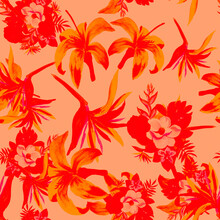 Pink Pattern Leaves. Coral Seamless Foliage. Ruby Tropical Plant. Scarlet Flower Leaves. Red Wallpaper Nature. Decoration Vintage. Watercolor Art.