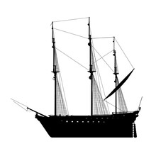 Silhouette Of A Sailing Ship Isolated On A White Background. Side View. Vector Illustration