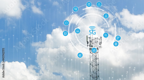 Fotografering Double Exposure of Telecommunication tower of 4G and 5G cellular