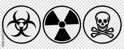 Fotografía Biohazard, toxic and radiation signs