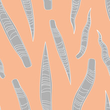 Simple Minimal Gray Snake Plant Leaves Tropical Seamless Pattern. Pink Background. Striped Jungle Foliage Modern Texture. Stock Vector Illustration.