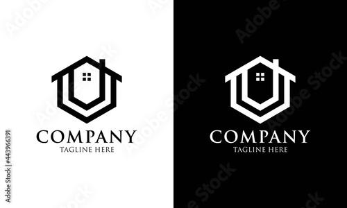 Billede på lærred Initial letter U house logo icon design minimalist monogram building property real estate symbol concept vector design template