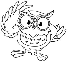Owl Touching His Glasses. Vector Line Art Illustration Coloring Page.