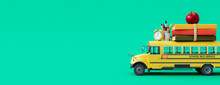 School Bus Arriving  With School Accessories And Books On Green Background 3D Rendering, 3D Illustration