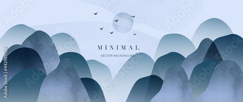 Blue mountain and golden line arts background vector. Oriental Luxury landscape background design with watercolor brush. Wallpaper design, Wall art for home decor and prints.