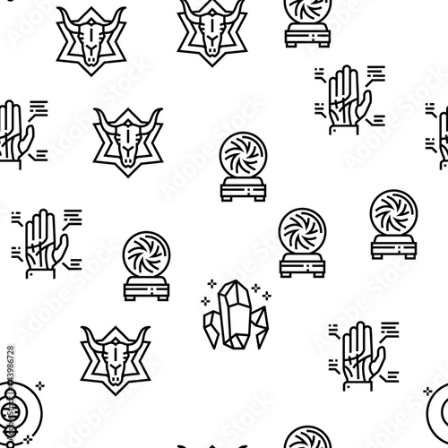 Fotografie, Obraz Astrological Objects Vector Seamless Pattern Thin Line Illustration