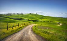 Monteroni D'Arbia, Route Of The Via Francigena. Curved Road. Siena, Tuscany. Italy