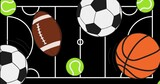 Digitally generated image of multiple sports balls icons against sports field layout in background