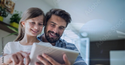 Binary coding data processing against caucasian father and daughter using digital tablet at home