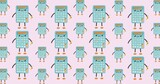 Composition of calculator figures repeated in rows on pale pink background