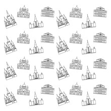 Cartoon Symbols And Objects Set In Line Of Moscow. Popular Tourist Architectural Objects: St. Basil's Cathedral, MSU, Cathedral Of Christ The Saviour, Big Theatre, Moscow Icons Set.